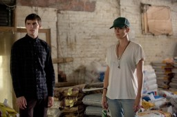 "Nicholas Hoult, left, as Lyle Wirth and Charlize Theron as Libby Day in a scene from the motion picture ""Dark Places."" Credit: Doane Gregory, A24 [Via MerlinFTP Drop]"